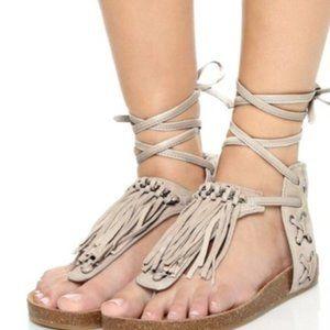 Sam Edelman Kyra thong lace up fringe boho sandals